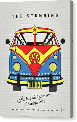 My Superhero-vw-t1-supermanmy Superhero-vw-t1-wonder Woman Canvas Print by Chungkong Art