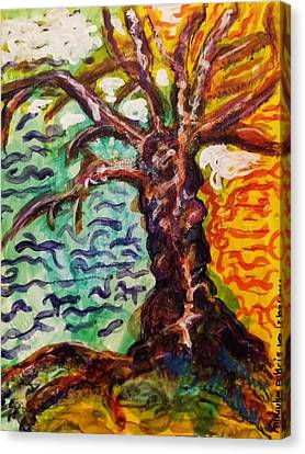 Canvas Print featuring the mixed media My Treefriend by Mimulux patricia no No