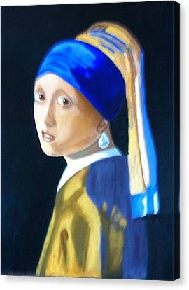 My Version-girl With The Pearl Earring Canvas Print by Rod Jellison