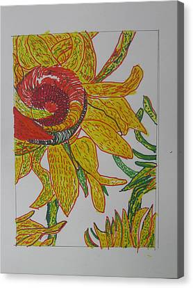Canvas Print featuring the drawing My Version Of A Van Gogh Sunflower by AJ Brown