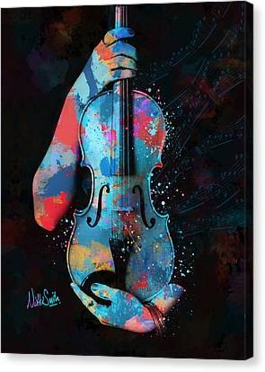 My Violin Whispers Music In The Night Canvas Print by Nikki Marie Smith