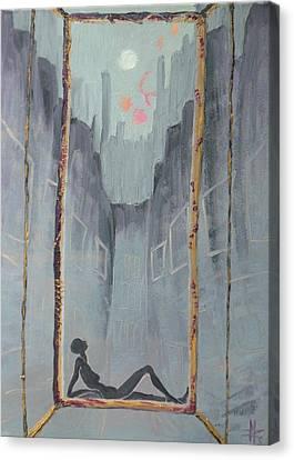 My Window Monday Morning Canvas Print by Zsuzsa Sedah Mathe