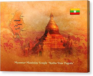 Canvas Print featuring the digital art Myanmar Temple Kutho Daw Pagoda by John Wills