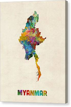 Myanmar Watercolor Map Burma Canvas Print by Michael Tompsett