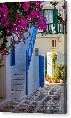 Aegean Canvas Print - Mykonos Staircase by Inge Johnsson