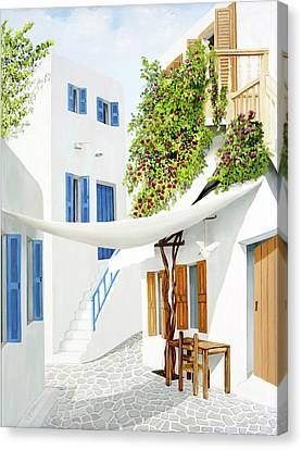 Stair Canvas Print - Mykonos Walk - Prints From My Original Oil Painting by Mary Grden Fine Art Oil Painter Baywood Gallery