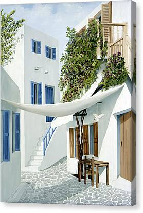 Mykonos Walk- Prints Of Original Oil Painting Canvas Print by Mary Grden Fine Art Oil Painter Baywood Gallery