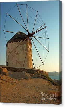 Mykonos Windmill  Canvas Print by Joe  Ng