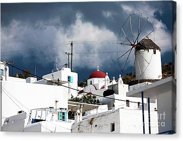 Mykonos Windmill On The Hill Canvas Print by John Rizzuto