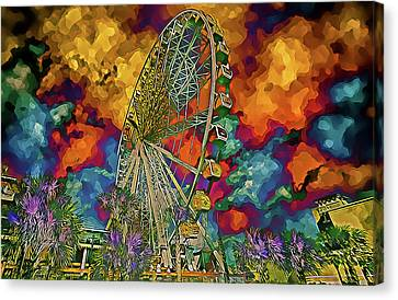 Canvas Print featuring the photograph Myrtle Beach Skywheel Abstract by Bill Barber