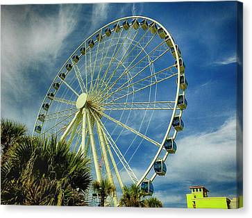 Canvas Print featuring the photograph Myrtle Beach Skywheel by Bill Barber