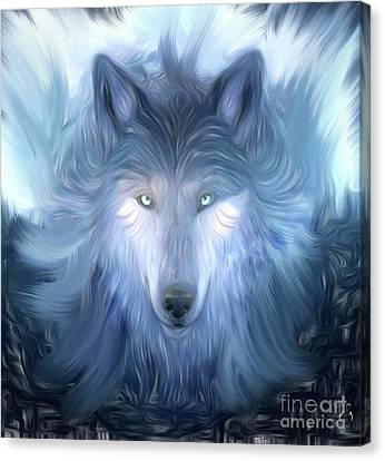 Mysterious Wolf Hand Painted Canvas Print by Heinz G Mielke