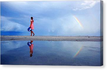 Mysterious Rainbow Girl Canvas Print