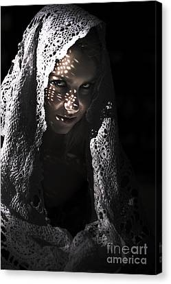 Mysterious Sinister Woman In Shawl Canvas Print by Jorgo Photography - Wall Art Gallery