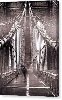 New York City Skyline Canvas Print - Mystery Man Of Brooklyn by Az Jackson