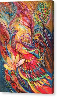 Mystery Of Blue Pigeons Canvas Print by Elena Kotliarker