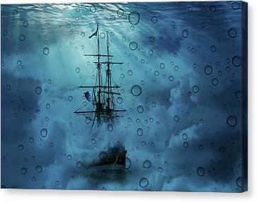Mystery Ship Underwater Canvas Print by Stephanie Laird