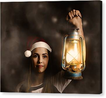 Mystery Woman On A Find And Seek Christmas Journey Canvas Print