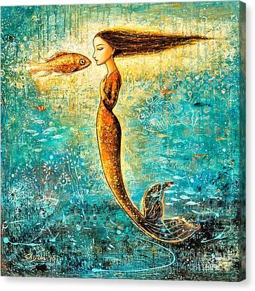 Mystic Mermaid Iv Canvas Print by Shijun Munns