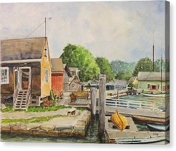 Mystic Seaport Boathouse Canvas Print by Patty Kay Hall