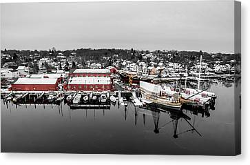 Mystic Seaport In Winter Canvas Print by Petr Hejl