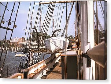 Mystic Seaport Windjammers Vintage Tall Sailing Ships Charles Morgan Picture Decor Canvas Print by John Samsen