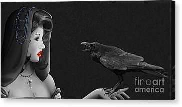 Mystic Woman With Raven Canvas Print by Monika Juengling