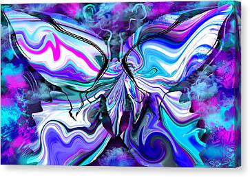 Mystical Butterfly In Misty Blues Canvas Print