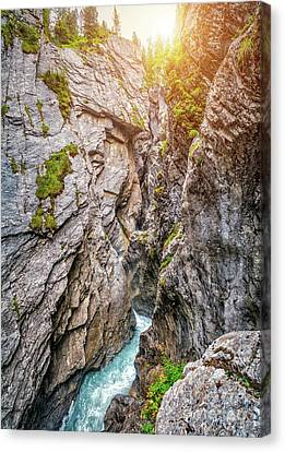 Mystical Gorge In Golden Light Canvas Print by JR Photography
