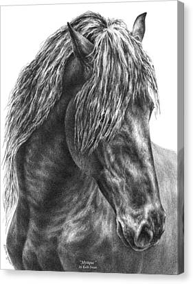 Mystique - Friesian Horse Portrait Print Canvas Print by Kelli Swan