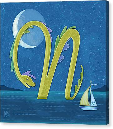 N Is For Nessie Canvas Print by Valerie Drake Lesiak