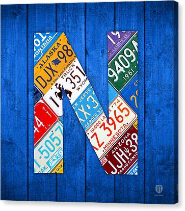 N License Plate Letter Art Blue Background Canvas Print by Design Turnpike
