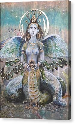 The Sacred Feminine Canvas Print - Naga Kanya Bestowing Treasures by Silk Alchemy