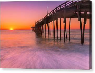 Nags Head Avon Fishing Pier At Sunrise Canvas Print by Ranjay Mitra