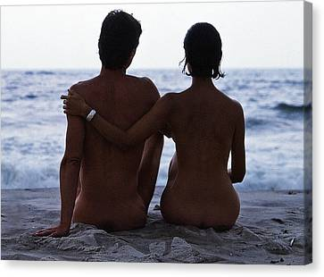 Naked Couple On Beach Canvas Print by Stan Fellerman