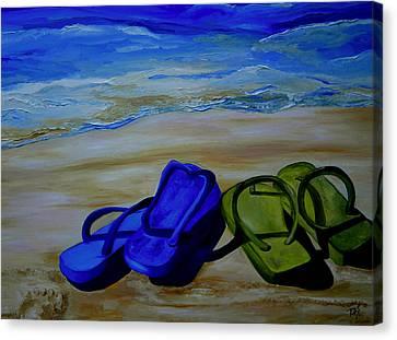Naked Feet On The Beach Canvas Print by Patti Schermerhorn