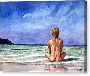 Naked Male Sleepy Ocean Canvas Print