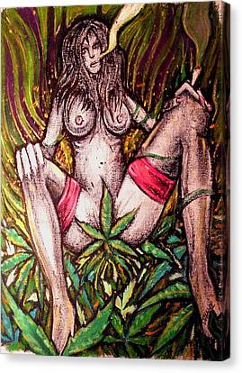 Naked With Green And A Hit Of Pink Canvas Print by Sam Hane