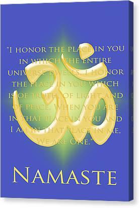 Namaste On Blue Canvas Print