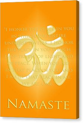 Namaste On Gold Canvas Print