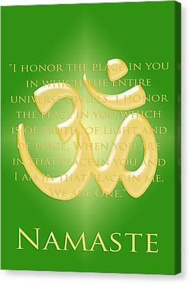 Namaste On Green Canvas Print