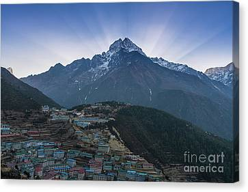 Canvas Print featuring the photograph Namche And Thamserku Peak Morning Sunrays by Mike Reid