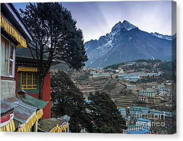 Canvas Print featuring the photograph Namche Monastery Morning Sunrays by Mike Reid