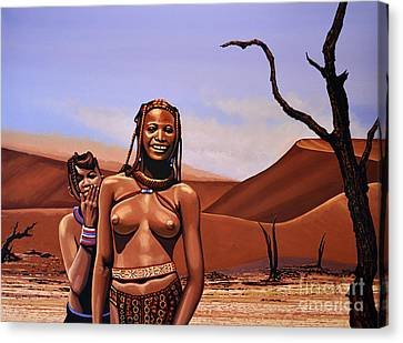 Himba Girls Of Namibia Canvas Print by Paul Meijering