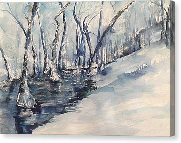 Nancy's Creek Winter Of 2012 Canvas Print by Robin Miller-Bookhout
