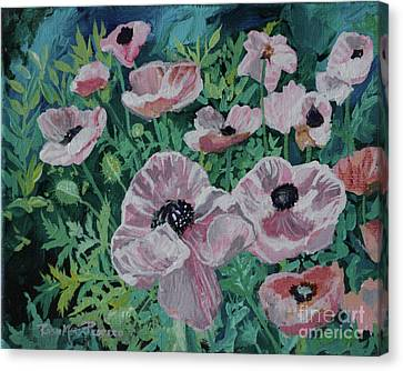 Canvas Print featuring the painting Nancy's Poppies by Robin Maria Pedrero