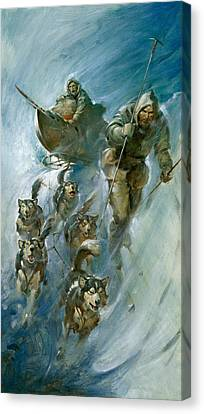 Nansen Conqueror Of The Arctic Ice Canvas Print by James Edwin McConnell