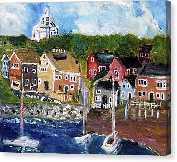 Nantucket Harbor Scene Canvas Print by Michael Helfen