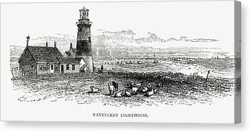 Nantucket Lighthouse, Massachusetts Canvas Print by Vintage Design Pics