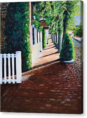 Nantucket Storefronts Canvas Print by Michael McGrath